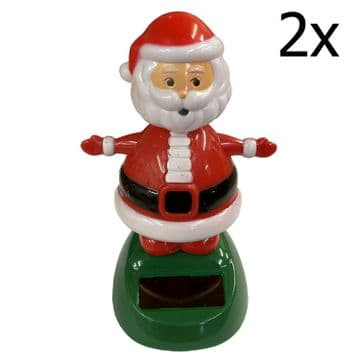 2 x SOLAR DANCING FATHER CHRISTMAS - SANTA CLAUS xmas decoration ornament toy